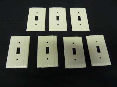 Vintage Art Deco Style Ribbed Ivory Single Toggle Switch Cover Plates lot of 7 3