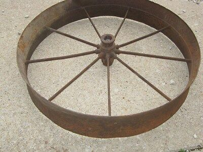 Vintage Rustic Rusty Iron Farm Implement Wheel Farm decor 4