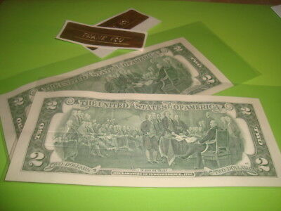 #2 two NEW CRISP Uncirculated U.S.A. $2.00 TWO Dollar THANK YOU embossed Notes 3