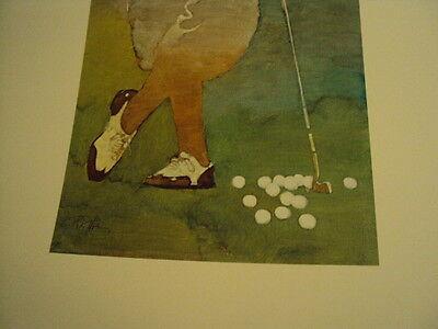 "Bart Forbes golf art print  "" The Golfer "" Vintage Male   SMALLER SIZE PRINT 5"