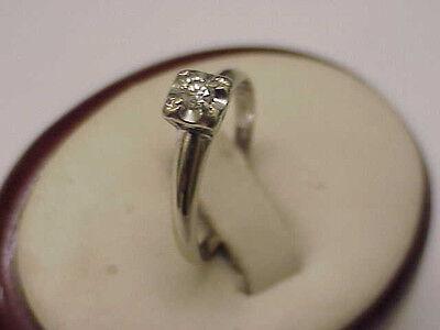 9c7ba6116d ... Art Deco 14k White Gold Engagment .23ct Old European Cut Diamond ring , 1930s 2