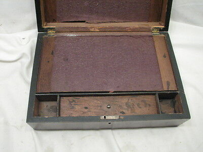 Antique Wooden Lap/Field Desk Writing Case Wood Box Tool Tole Painted 4