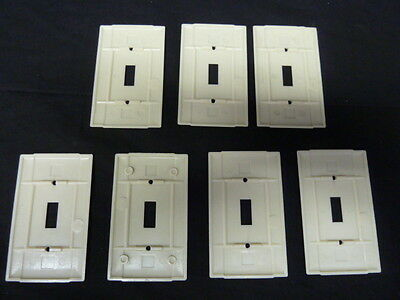 Vintage Art Deco Style Ribbed Ivory Single Toggle Switch Cover Plates lot of 7 4