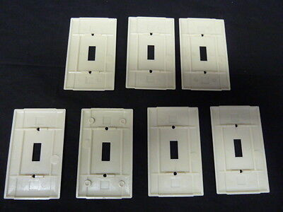 Vintage Art Deco Style Ribbed Ivory Single Toggle Switch Cover Plates lot of 7
