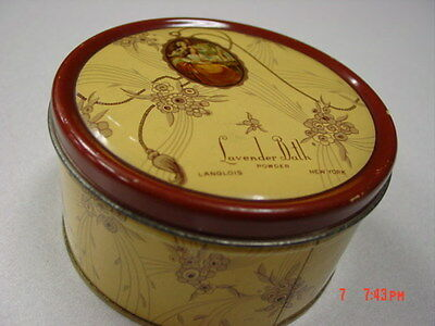 Vintage Dusting Powder Box Lavender Bath Langlois EMPTY Metal Tin Art Deco 10