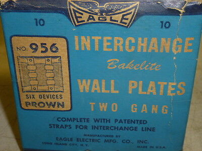 Nos! Eagle Interchange 2-Gang Brown Ribbed Bakelite Wall Plate, Horizontal, 956