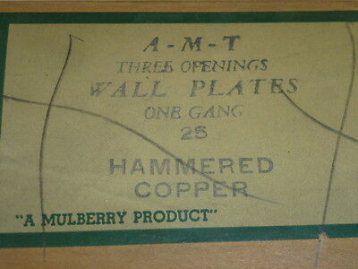 Nos! (2) A-M-T Interchange Single Gang Hammered Copper Finish Wall Plate, 3-Hole 3