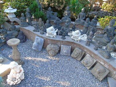 bouddha,assis statue en pierre patinée, nouveau ,bouddha tête en pointe ... 5