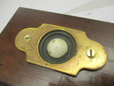 Vintage Brass Door Bell Porcelain with Wooden Surround Architectural Antique Old 7