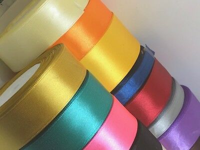 Satin Ribbon Rolls Reels 25mm 15mm 10mm 38mm 6mm Widths Double Sided 25 Metres