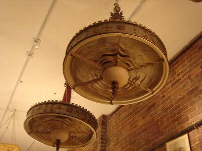Art Deco Vintage Pair Metalwork Chandeliers 2