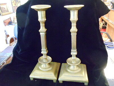 Antique Pair Brass Possibly Russian Candle Stick Holder  Imperial 7