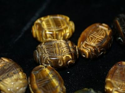 Vintage Carved Chinese Tigers Tiger Eye Bead Shou Design 25mm 18mm Flat Oval
