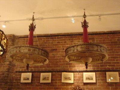 Art Deco Vintage Pair Metalwork Chandeliers 10