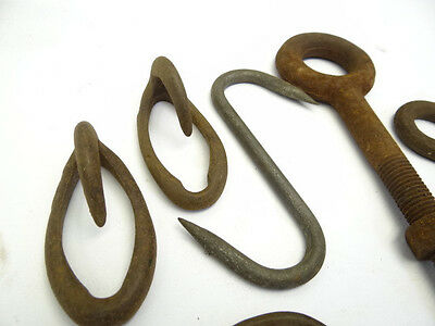 Antique & Vintage Lot Metal Iron Hangers Hooks Barn Latches Brackets Hardware 9