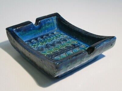 Vintage Vaso Posacenere Design Anni '60 Blu Ceramica Scuola Bitossi 2