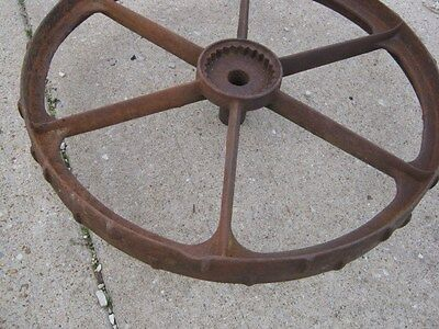 "Vintage Rustic Rusty Iron Farm Implement Wheel  farm decor 31 1/2"" diameter 5"