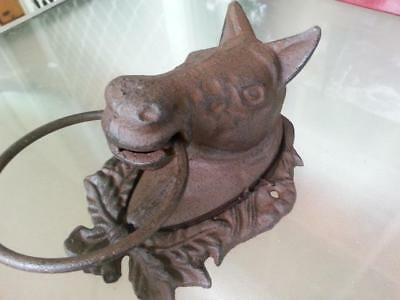 Cast Iron Antique Style Horse Head Door Wall Decor / Cottage Towel Ring Rustic 4