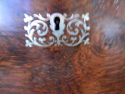 Antique Large Victorian Writing Slope Box Silver Inlaid Walnut Wooden 36cm 6