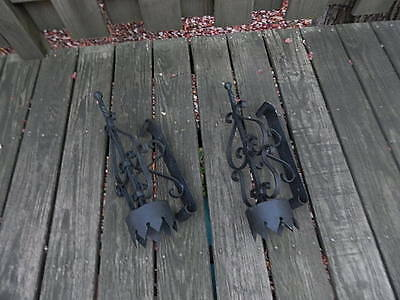Pre-Owned Set Of Black Wrought Iron Wall Sconces International Sale 6