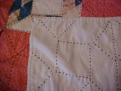 Vintage 1920/30s  QUILT, LOTSA PATTERNED RED &  BLACK EMBROIDERY 6