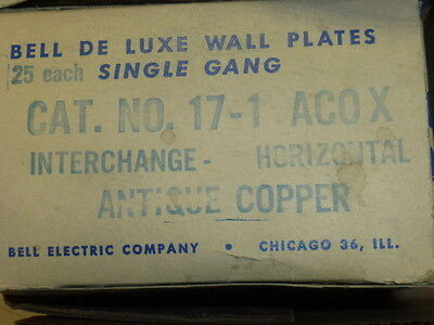 Nos! (2) Bell Interchange 1-Gang Antique Copper Finish Wall Plate, 1-Hole 3