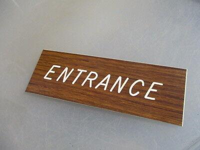 "Vinyl ""Entrance"" Plaque Sign Architectural Salvage Laminate Vintage - Retro Old"