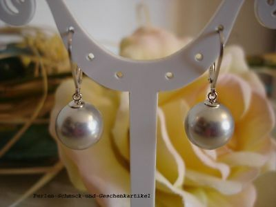 Ohrringe 925Silber vergoldet Geschenk in Tahiti-Grau MuschelkernPerlen Tropfen