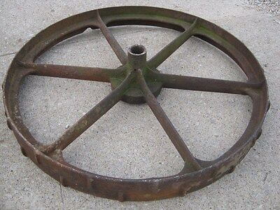 "Vintage Rustic Rusty Iron Farm Implement Wheel  farm decor 31 1/2"" diameter 9"