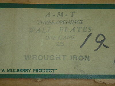 Nos! 2 A-M-T Interchange 1-Gang Hammered Wrought Iron Finish Wall Plate, 3-Hole 3