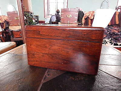 Antique Large Victorian Writing Slope Box Silver Inlaid Walnut Wooden 36cm 10