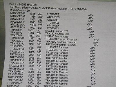 HONDA NOS//OEM SWING ARM OIL SEAL 42 58 8 ATC 110 250 ES SX 91254-ha0-003