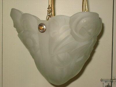 antique (PARIS STAR) ART DECO chandelier Ceiling Light Fixture FROSTED Glass 6