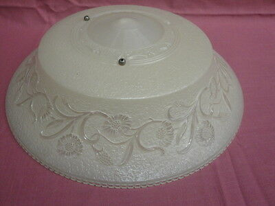 "Antique Embossed Art Glass Shade 16 1/4"" Across 2"