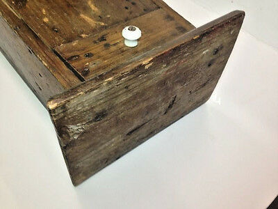 "23"" Primitive Wood Wall Hanging Folk Art Carved Candle Box or Pantry Box AAFA 6"