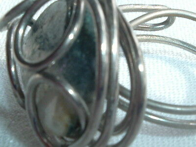 Vintage Silver Tone Wire Wrapped Mottled Gray Agate Stone Ring Size 4