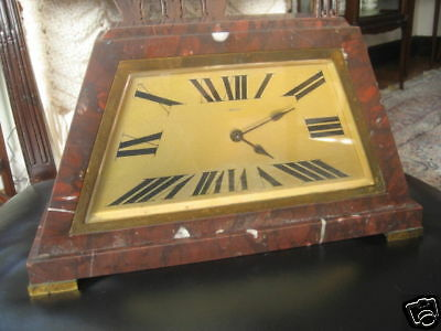 Antique Rouge Marble French Art Deco Clock 3
