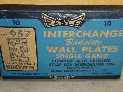 Nos! Eagle Interchange Single Gang Brown Ribbed Bakelite Wall Plate, Vertical
