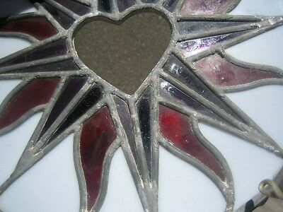 "leaded stained glass round window hanging floral patern & heart 12"" round 4"