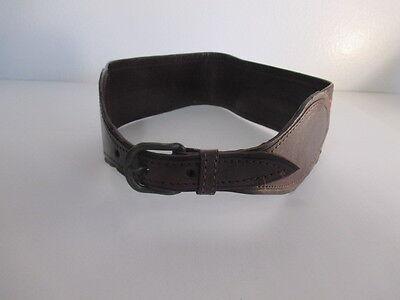 DANNIJO  Red Crochet Brown leather Morocco Waist Belt Sz 32.5 Long 11