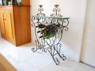 Handmade Iron Elegant French Wine Bottle Rack Storage Console Table 001 BRS