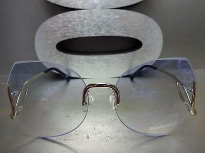 52282d24ab8 ... OVERSIZED VINTAGE RETRO Style SUN GLASSES Upside Down Gold Frame Blue Clear  Lens 5