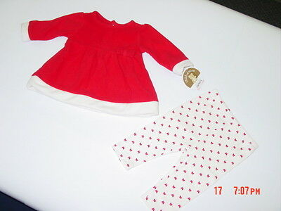 NWT Infant Girl 2 Piece outfit Carter/'s Fleece Top Leggings Red White Bows Xmas