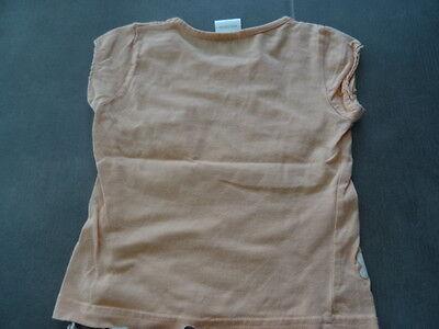 Ensemble jupe lin beige 2 ans + t-shirt saumon imprimé fleurs à paillette 3 ans 4