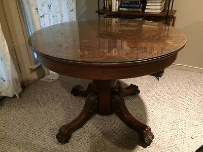 Antique Claw Foot Tiger Oak Dining Table With Glass Top 40 Round