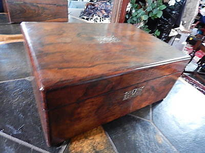 Antique Large Victorian Writing Slope Box Silver Inlaid Walnut Wooden 36cm 2