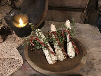 Primitive Christmas Bowl Fillers Early Look Dried Cobs Red Berries Cupboard Tuck 7
