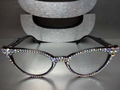 571daef106 ... Women s VINTAGE CAT EYE READING EYE GLASSES READERS Iridescent Crystals  Handmade 5