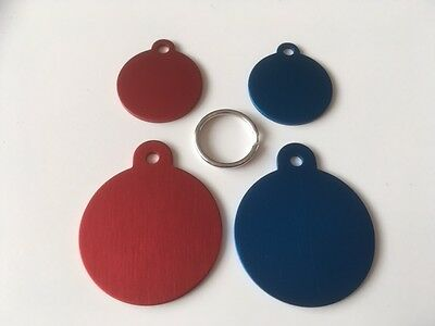 Engraved Cat/Dog / Pet ID NAME tags SMALL / LARGE / RED / BLUE DISC + split ring 2
