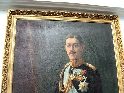 "King Alexander of Greece 1917 1920 Huge Oil Painting 81""  tall Signed by artist 2"